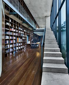 The library, which looks onto one of the courtyards, helps connect the public and private zones and is one of the most dramatic spaces in the house. The complex relationship between indoors and out has been a hallmark of Andos work throughout his career but finds a rich new expression here in Mexico on a site that sits within a national park.