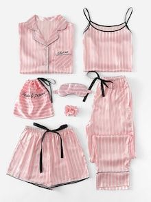 Shop Plus Letter Embroidered Striped Satin PJ Set online. SHEIN offers Plus Letter Embroidered Striped Satin PJ Set & more to fit your fashionable needs. Satin Pyjama Set, Satin Pajamas, Pyjamas, Pink Silk Pajamas, Cute Sleepwear, Lingerie Sleepwear, Loungewear, Nightwear, Fashion Clothes