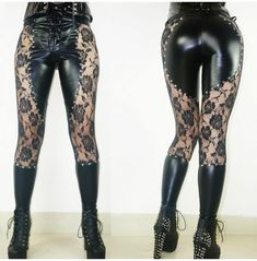 Cheap Black Faux Leather Lace Rivets Punk Girl's Sexy See Through Gothic Leggings For Big Sale! Black Faux Leather Lace Rivets Punk Girl's Sexy See Through Gothic Leggings Gothic Pants, Gothic Leggings, Lace Leggings, Women's Leggings, Leggings Are Not Pants, Nike Leggings Women, Leggings Outfit Winter, Lace Tights, Girls Leggings
