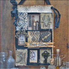Many good techniques in this project. Matchbox Halloween Collage by Paula Cheney | www.timholtz.com