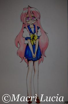 character portrait: miyuki lucky star technique: pen and pencil crayons Dimensions: 33 x 48 cm