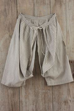 Vintage French grey striped BLOOMERS  clothes fabric TIMEWORN repairs cotton