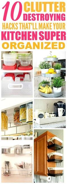 These 10 easy kitchen organization hacks are THE BEST! I'm so glad I found these AWESOME tips! Now I have good ways to clear up clutter and make extra space in my kitchen! Definitely pinning!