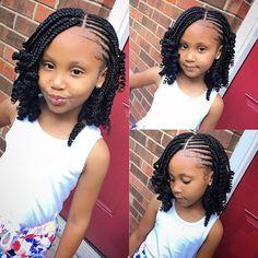 Box Braids Hairstyles, Lil Girl Hairstyles, Black Kids Hairstyles, Natural Hairstyles For Kids, Kids Braided Hairstyles, Braided Ponytail, Kids Crochet Hairstyles, Hairstyle Ideas, Short Hairstyles