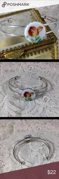 Bangle Bracelet with handcut China cabachon A beautiful 20mm handcut vintage China plate cabachon. Mounted in a one size silver tone setting. Cute bangle! 🌺 StevebDesigns Jewelry Bracelets