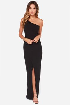 Rubber Ducky Ballet Russe One Shoulder Black Maxi Dress at Lulus.com!