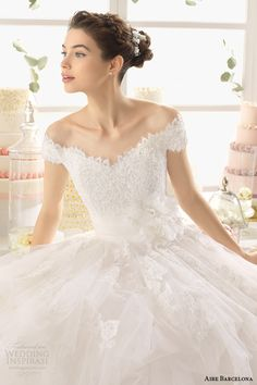 aire barcelona 2015 anne off shoulder ball gown wedding dress