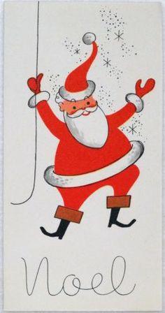 #1488 50s Mid Century Santa Claus-Vintage Christmas Greeting Card