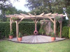 Pergola Ideas For Patio Pergola D'angle, Gazebo, Garage Pergola, Corner Pergola, Pergola Shade, Pergola Ideas, Backyard Patio, Backyard Landscaping, Shade Canopy