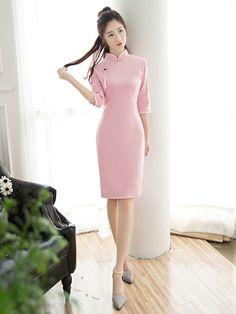 Midi Pink Qipao / Cheongsam Dress with Long Sleeves