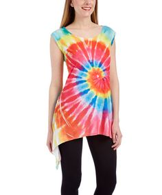Another great find on #zulily! Red & Blue Tie-Dye Cap Sleeve Tunic #zulilyfinds