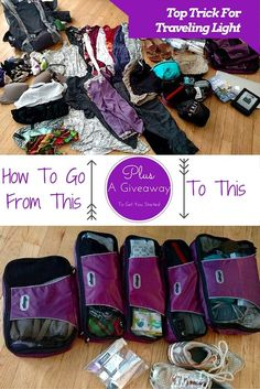 Top travel trick for packing light. Plus a giveaway to get you started! How packing cubes are the tip that will change how you travel.
