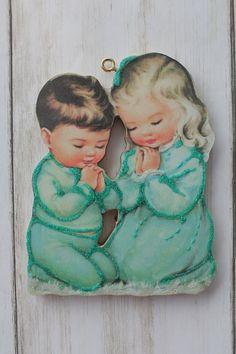 Children Praying Glittered Christmas Ornament Vintage Card   Etsy Vintage Cards, Vintage Images, Gold Ornaments, Christmas Ornaments, Old Time Christmas, Light Gold Color, Rock A Bye Baby, Holiday Tree, Second Child