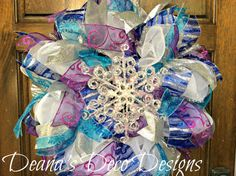 Frozen Christmas deco mesh wreath by DeanasDecoDesigns on Etsy