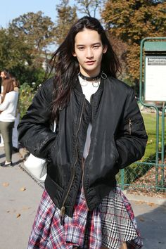 Mona Matsuoka at Chanel SS 2015 Paris Snapped by Benjamin Kwan Paris Fashion Week