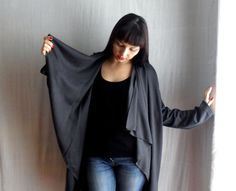 Dark grey jersey cardigan in wool mix - One size fits all