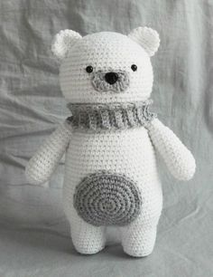 Crochet Stuff Bears Hello everyone! Winter is coming ) and today I have a special new free pattern for you - amigurumi polar bear. Very cute and cuddly nice to hug bear which is very easy to crochet from your favorite ya Crochet Patterns Amigurumi, Amigurumi Doll, Crochet Dolls, Amigurumi Tutorial, Crochet Bear Patterns, Crochet Animals, Crochet Ideas, Crochet Mignon, Bear Doll