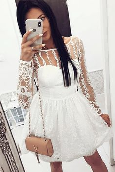 A-Line Crew Long Sleeves Short White Lace Homecoming Dress with Pleats Boho Dress, Dress Lace, Long Sleeve Homecoming Dresses, Suspender Dress, Belted Shirt Dress, Occasion Dresses, Elegant Dresses, Flare Dress, Homecoming Pictures
