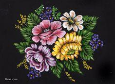 Flowers on black. Hazel Lynn.