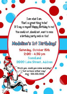 dr seuss cat in the hat invitation - printable - 5x7 birthday, Birthday invitations