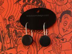 Black perspex round earrings | Felt