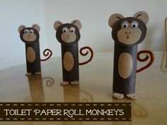 Toilet Paper Roll Monkeys (Tip: Move ears more toward sides of head so it looks more like a monkey & less like a bear)