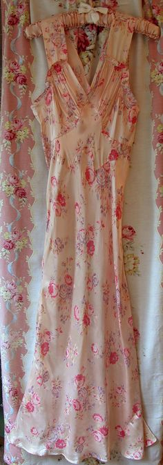 Vintage 30s Pink ROSES FLORAL Slipper Satin Bias Cut Gown Evening Gown Flowers Silk 1930s Nightgown on Etsy, $91.74 AUD