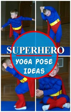 Gross motor activities for preschool and up! Superhero Yoga Pose Ideas and Superhero Gross Motor Ideas. These are awesome way to incorporate movement into a superhero theme, superhero classroom, or for any superhero!