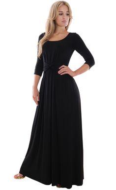 Image for Black Jersey Knot Dress 8934279ec