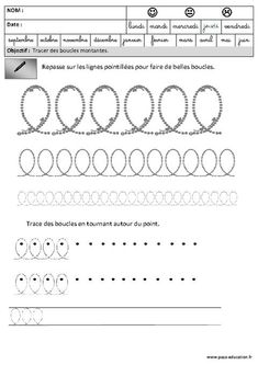 Boucles - Montantes - Graphisme – Maternelle – Grande section – GS Maternelle Grande Section, Free Printable Numbers, Learning Centers, Machine Quilting, Fine Motor, School Supplies, Worksheets, Activities For Kids, Recherche Google