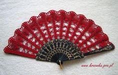 Red crochet hand fan