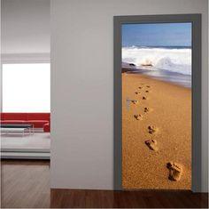 Βήματα στην άμμο, αυτοκόλλητο πόρτας Windows, Stickers, Frame, Home Decor, Picture Frame, Window, Sticker, A Frame, Interior Design