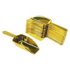 Small Plastic Candy Scoop, 12-pack, Gold