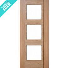 WoodDoor+ Internal Pre-Finished Oak Walnut Glazed 3 Light Salamanca Door Internal Glazed Doors, Mirror, Mirrors