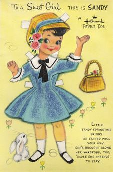 A Hallmark paper doll card ♥ I loved paper dolls. Waited for the McCalls magazine every month.