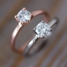 Cushion Cut  Moissanite Engagement Ring, Four Prong Ring Design, Diamond Alternative in Recycled 14k Rose  Gold