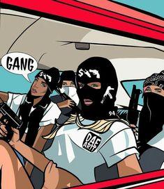 Foto Cartoon, Dope Cartoon Art, Dope Cartoons, Black Love Art, Black Girl Art, Art Girl, Aesthetic Art, Bad Girl Aesthetic, Fille Gangsta