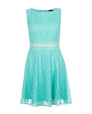 Turquoise (Blue) Mint Crochet Waist Lace Skater Dress | 299672948 | New Look