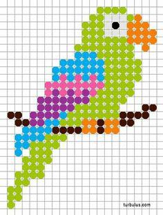 Parrot en perler beads à repasser Tiny Cross Stitch, Cross Stitch Bookmarks, Cross Stitch Cards, Cross Stitch Animals, Cross Stitching, Cross Stitch Embroidery, Cross Stitch Patterns, Hand Embroidery, Hama Beads Design