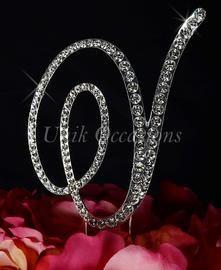 unik occasions victorian crystal rhinestone wedding cake topper letter v