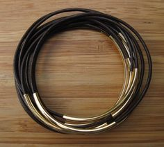 Handmade Brown Leather Cord Bangles With Gold Plated Tubes -etsy
