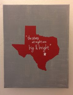 Deep In the Heart of Texas -state canvas on Etsy, $30.00
