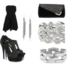 Rockin It, created by geraldina-murtagh on Polyvore    Simple little black dress, studded heals all dolled up with Stella & Dot Jewels. Get this Rocker Chic look! www.stelladot.com/geraldinamurtagh
