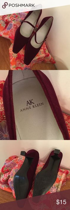 """Anne Klein Plum Velvet Mary Jane Heels Sz 10 A fun pair of velvet plum colored Mary Jane style pointed toe heels from Anne Klein. Purchased new by me to wear with a Halloween witch's costume. Worn once. Great shape! Size 10. 3"""" heel. Anne Klein Shoes Heels"""