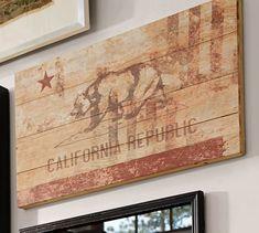 California Republic Wood Flag | Pottery Barn