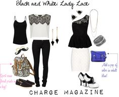 """Spring 2013 Trend: Black and White (in Lady Lace!)"" by chargemagazine ❤ liked on Polyvore"