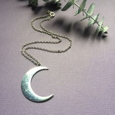 Silver Crescent Moon Necklace Half Moon Necklace by ZenLunaticNYC