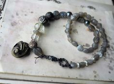 Beaded Necklace  Grey Glass Metal Crystal Sugar by shipwreckdandy, $70.00