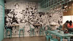 wall doodle at wofl cafe, gachibowli, hyderabad. contact artist: 8308330884 https://www.instagram.com/navarts_studios/ #Wall #doodle #anime #dc #marvels, #starwars #painting #wallart #mural #drawing #decor #decors #walldecor #walldesign #interior #architecture #architectureart #navarts_studios #navarts