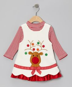 Ivory Reindeer Fleece Jumper & Top - Infant, Toddler & Girls